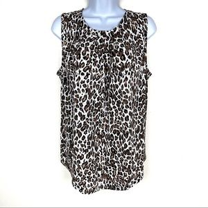 🆕 ADRIANNA PAPELL Leopard Print Sleeveless Top L